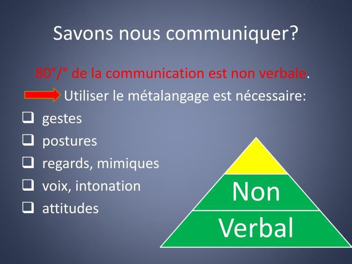 Savons nous communiquer?