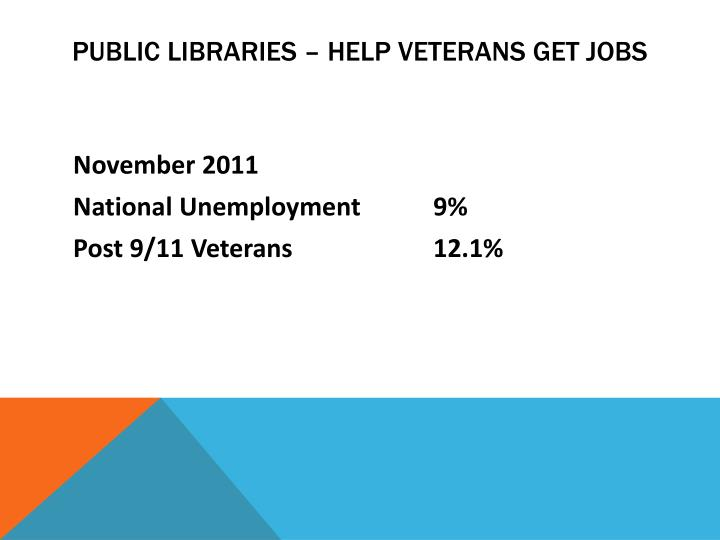 Public libraries – help veterans get jobs