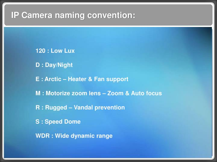 IP Camera naming