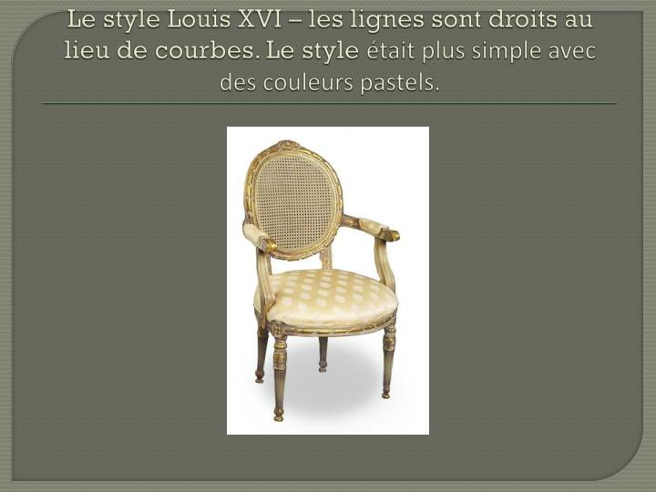 Le style Louis XVI – les