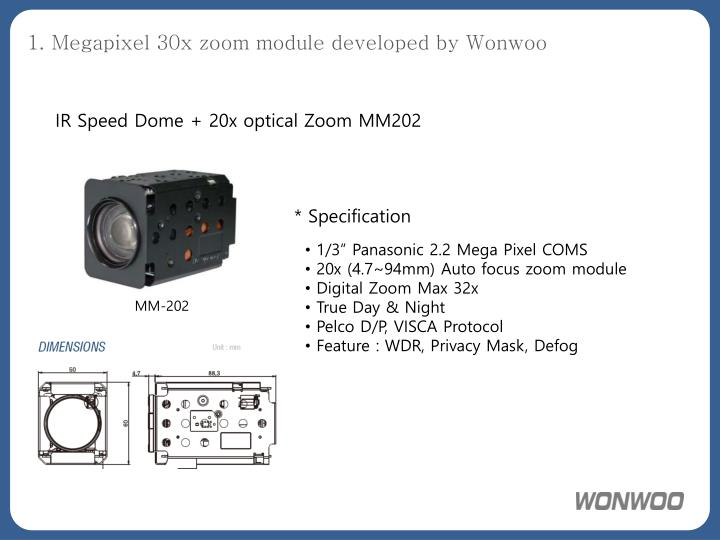 1. Megapixel 30x zoom module developed by Wonwoo