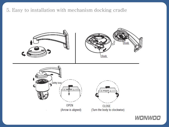 5. Easy to installation with mechanism docking cradle