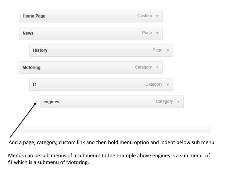 Add a page, category, custom link and then hold menu option and indent below sub menu
