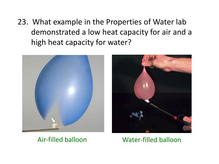 23.  What example in the Properties of Water lab