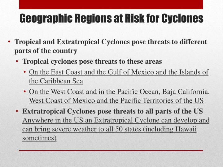 Geographic Regions at Risk for Cyclones