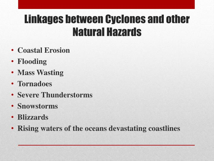 Linkages between Cyclones and other Natural Hazards