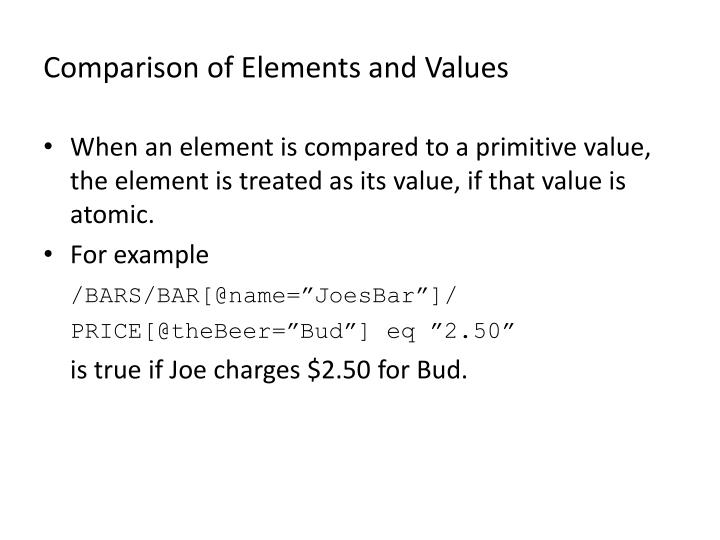 Comparison of Elements and Values
