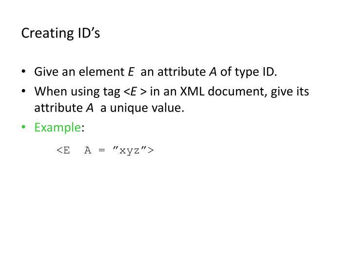 Creating ID's
