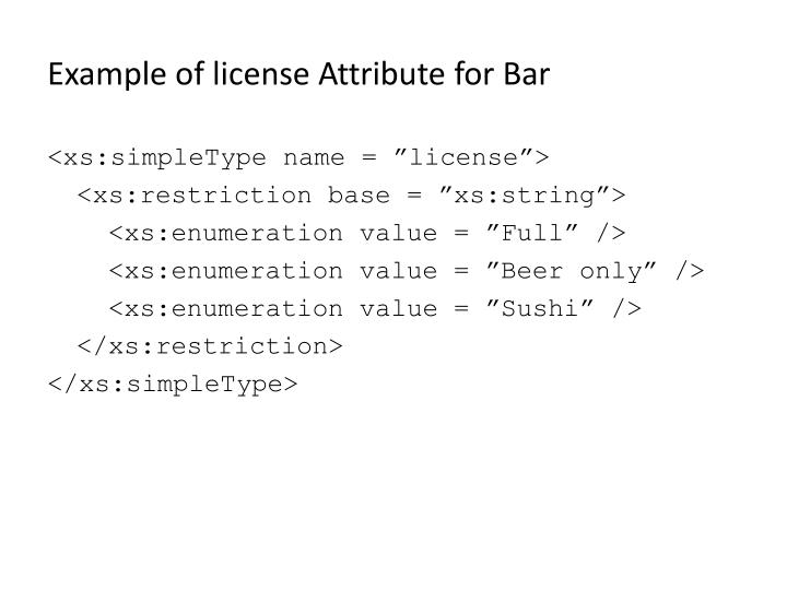 Example of license Attribute for Bar