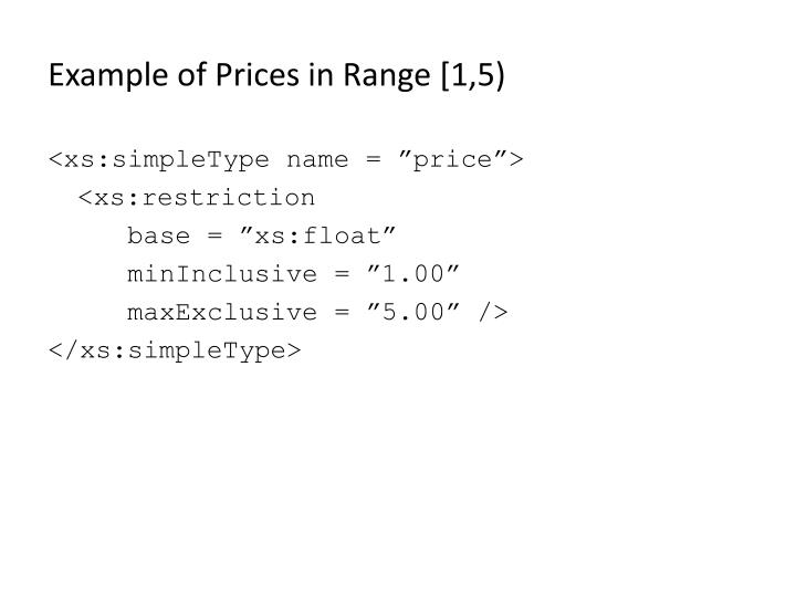 Example of Prices in Range [1,5)