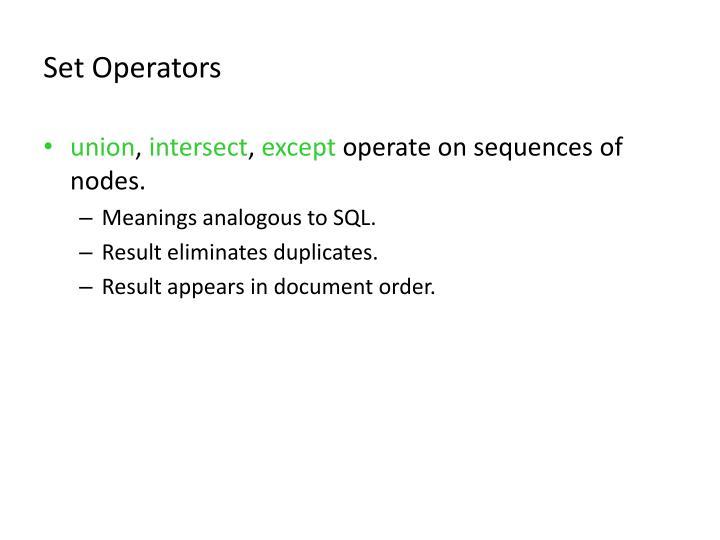 Set Operators