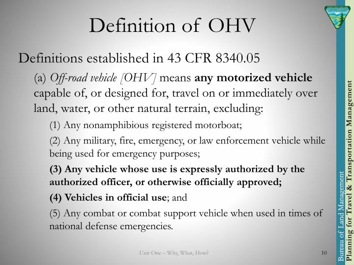 Definition of OHV