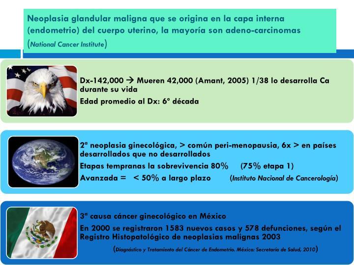 Neoplasia glandular maligna que se origina en la capa interna (endometrio) del cuerpo uterino, la mayoría son