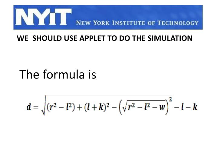 The formula is
