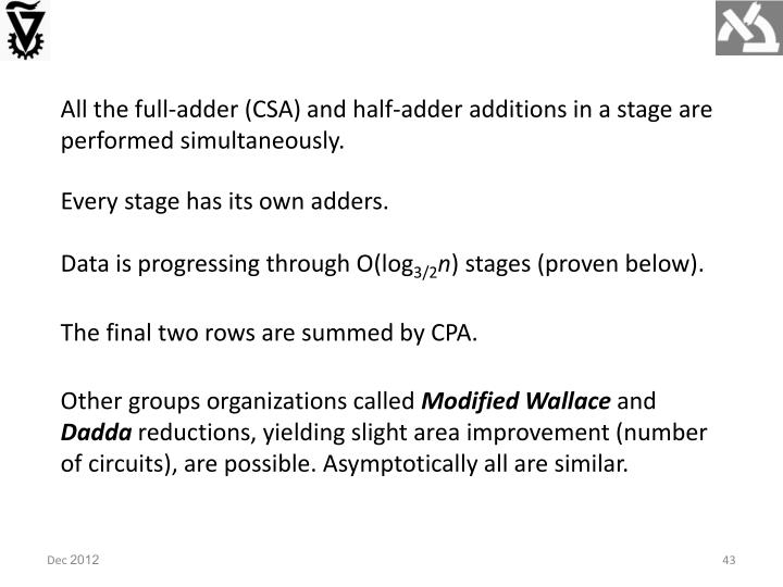 All the full-adder (CSA) and half-adder additions in a stage are performed simultaneously.