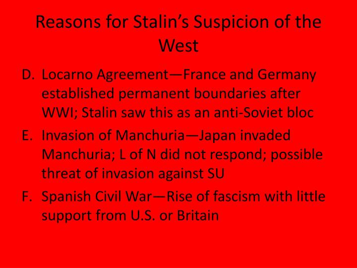 Reasons for Stalin's Suspicion of the West