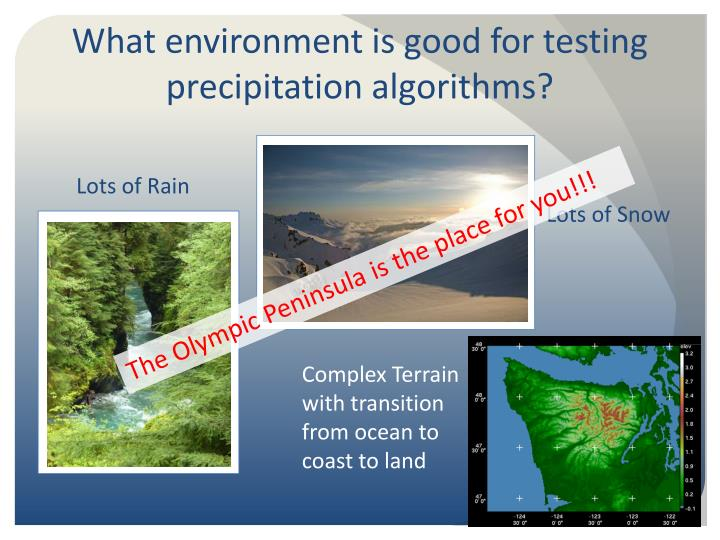 What environment is good for testing precipitation algorithms?