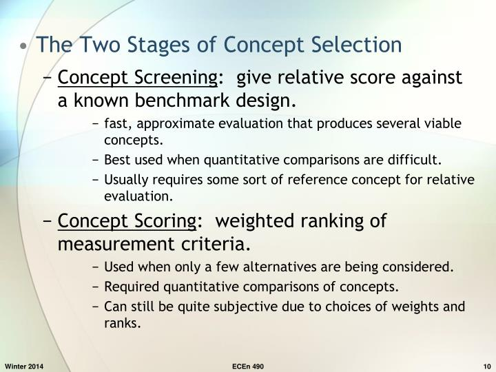 The Two Stages of Concept Selection
