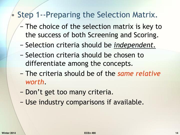 Step 1--Preparing the Selection Matrix.