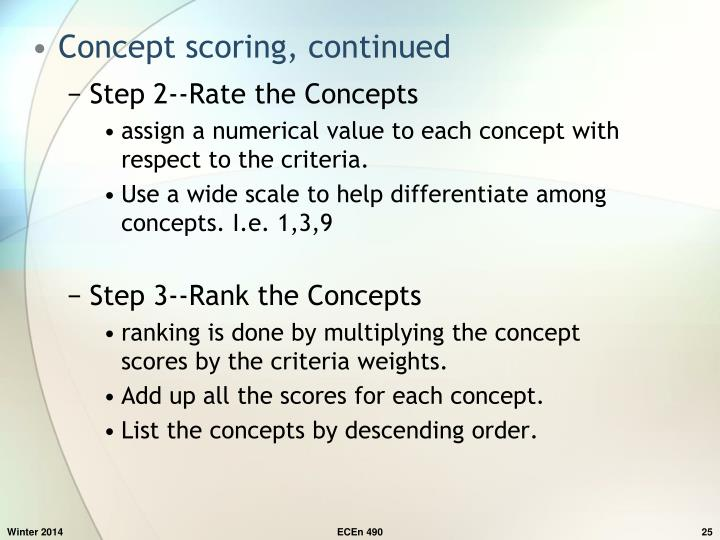 Concept scoring, continued