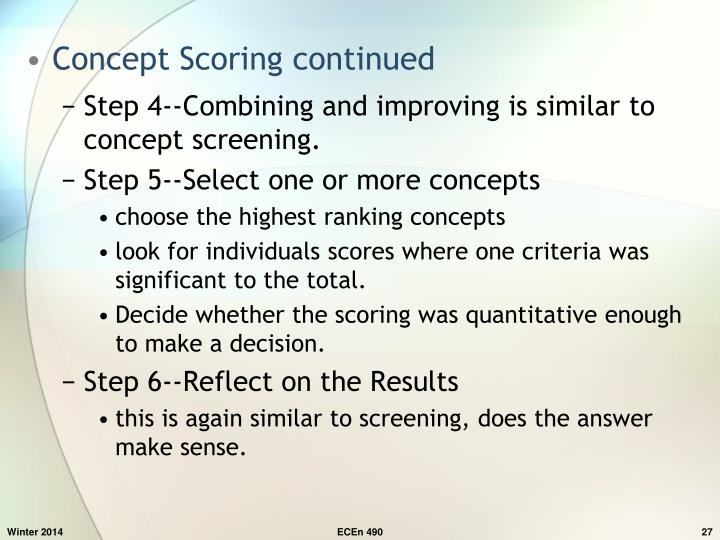 Concept Scoring continued