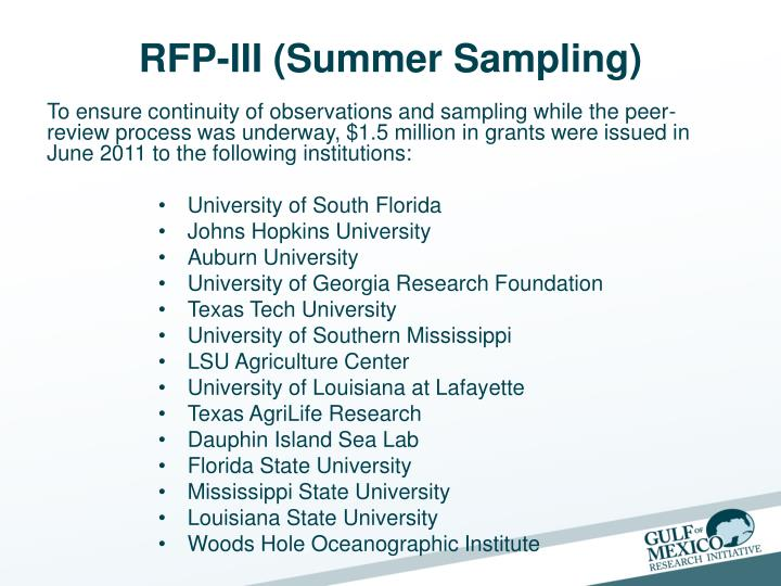 RFP-III (Summer Sampling)