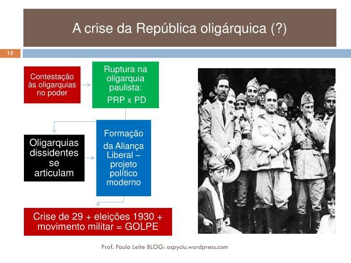 A crise da República oligárquica (?)
