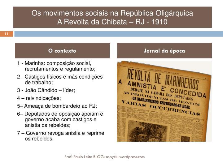 Os movimentos sociais na República