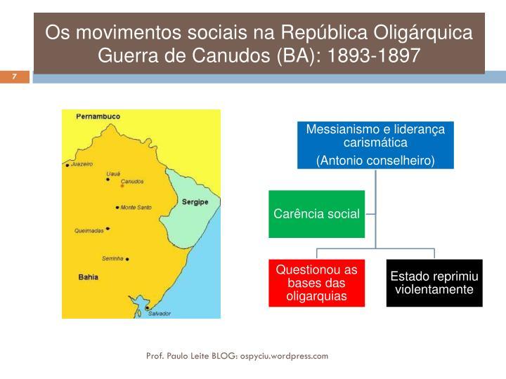 Os movimentos sociais na República Oligárquica Guerra de Canudos (BA): 1893-1897
