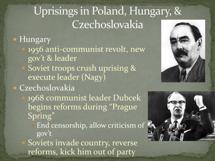 Uprisings in Poland, Hungary, & Czechoslovakia