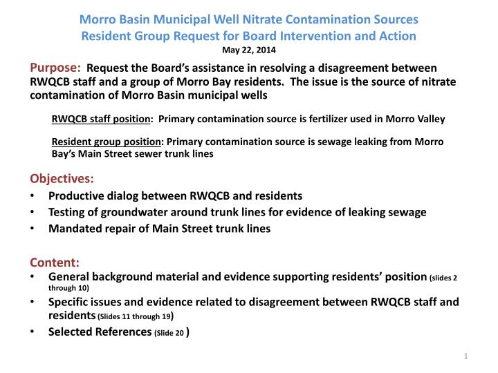 Morro Basin Municipal Well Nitrate Contamination Sources
