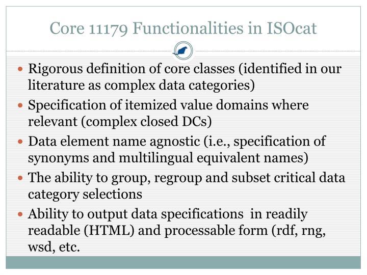 Core 11179 Functionalities in ISOcat