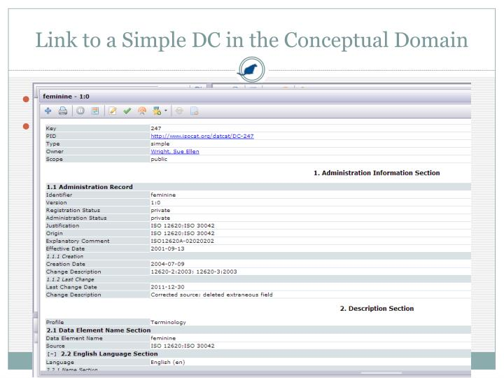 Link to a Simple DC in the Conceptual Domain