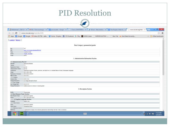 PID Resolution