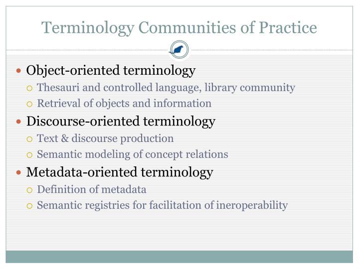Terminology Communities of Practice
