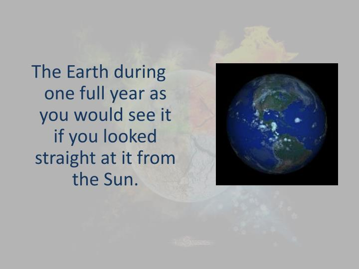 The Earth during one full year as you would see it if you looked straight at it from the Sun.