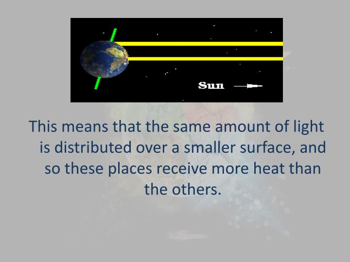 This means that the same amount of light is distributed over a
