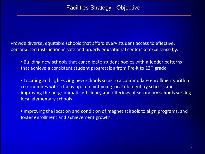 Facilities Strategy - Objective