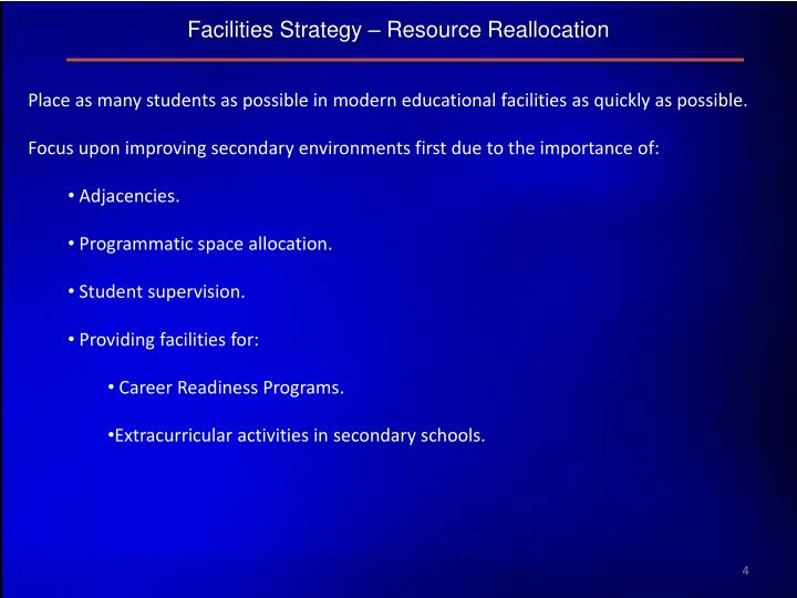 Facilities Strategy – Resource Reallocation