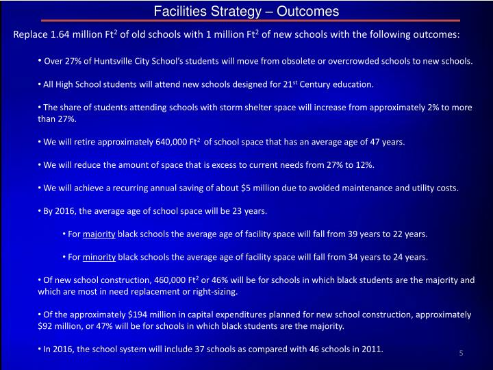 Facilities Strategy – Outcomes