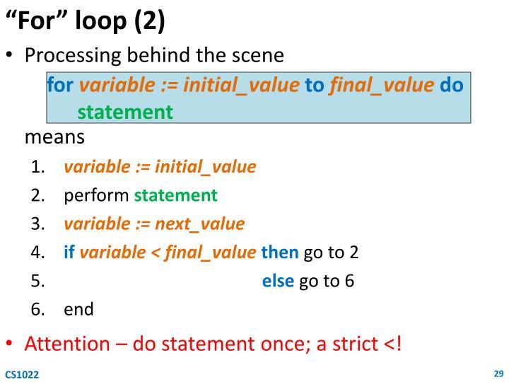 """""""For"""" loop (2)"""