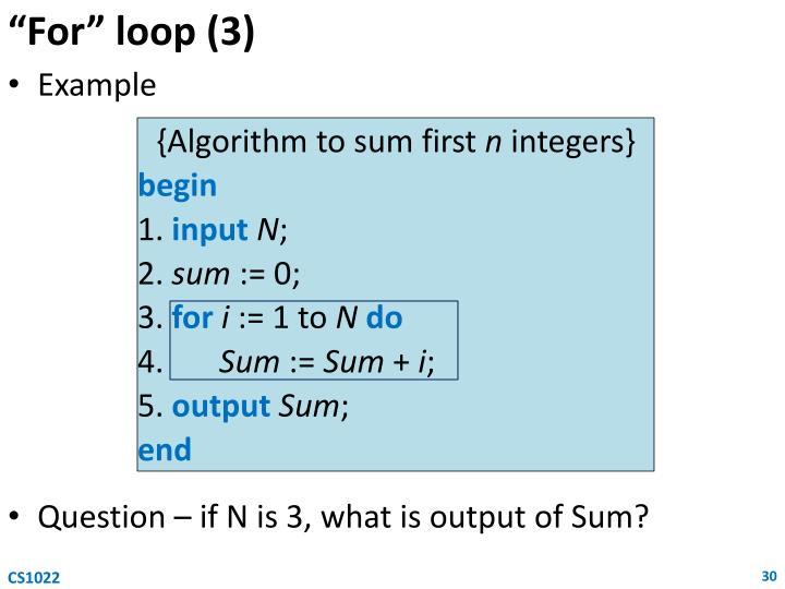 """""""For"""" loop (3)"""