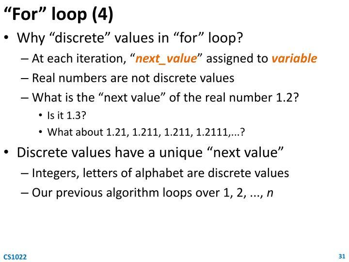 """""""For"""" loop (4)"""