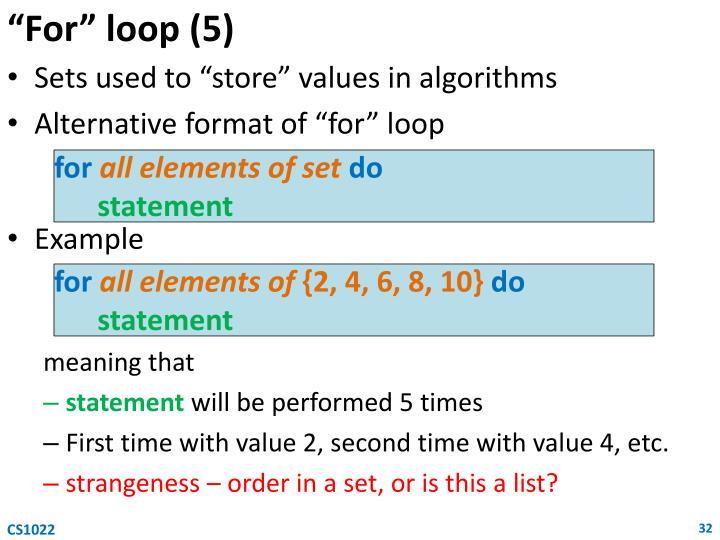 """""""For"""" loop (5)"""