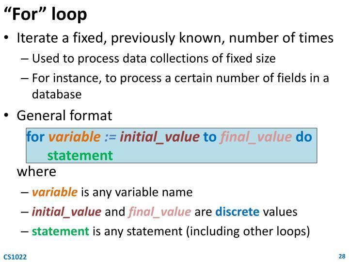 """""""For"""" loop"""
