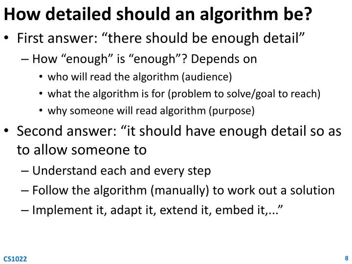 How detailed should an algorithm be?