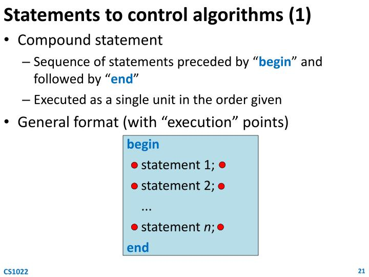 Statements to control algorithms (1)