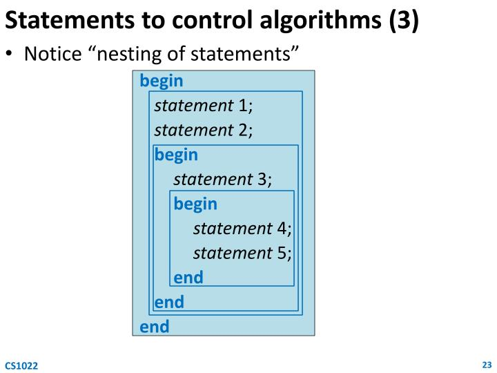 Statements to control algorithms (3)