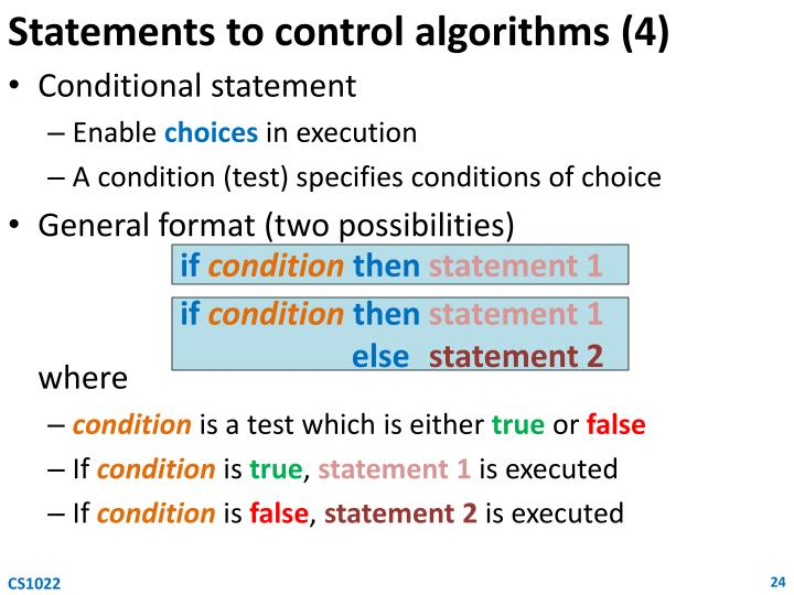 Statements to control algorithms (4)