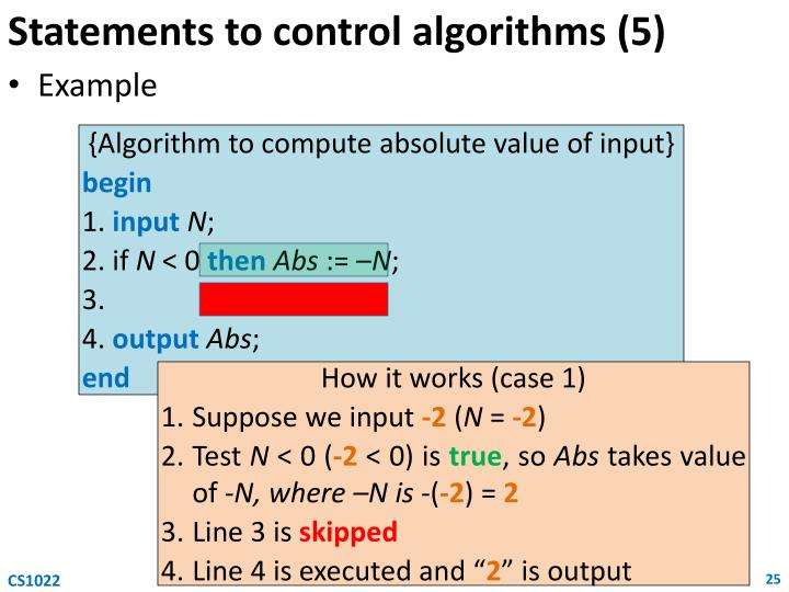 Statements to control algorithms (5)